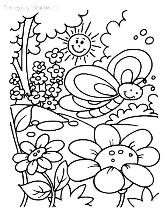 раскраска для девочки цветы и бабочки