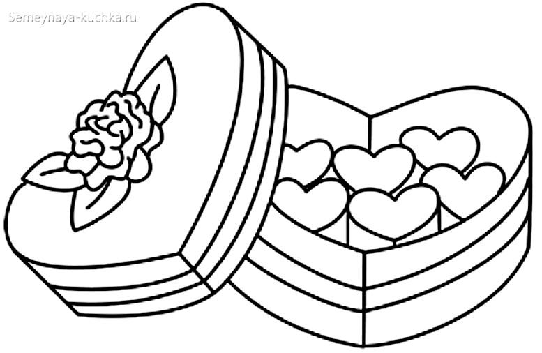 раскраска для девочки коробка конфет
