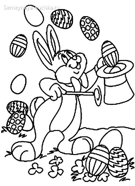 раскраска для девочки пасхальный кролик