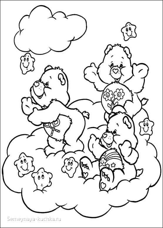 раскраска для девочки картинка милые мишки