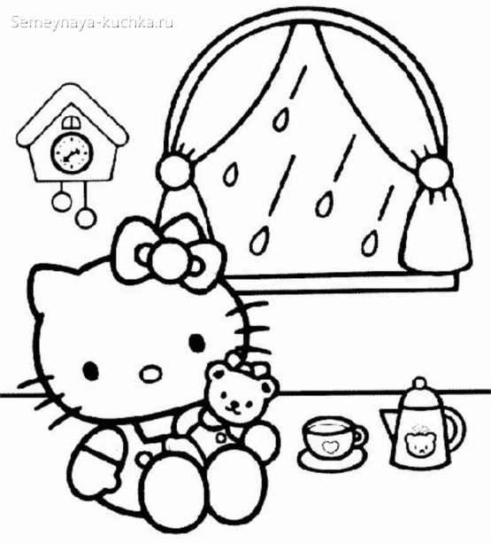раскраска для девочки котенок китти