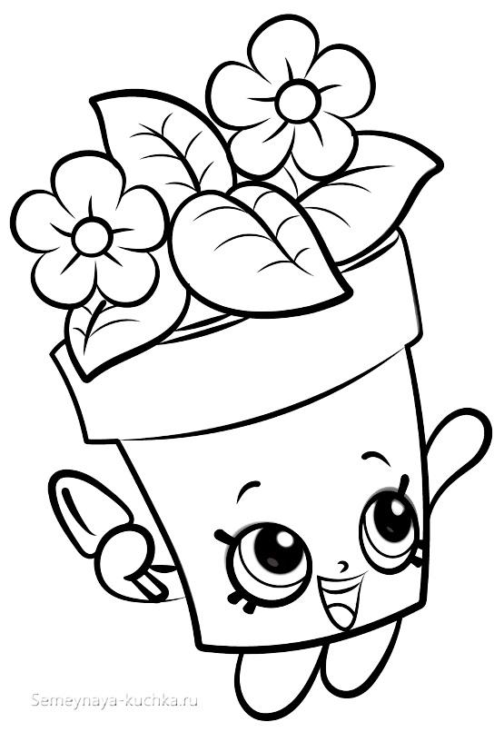 раскраска для девочки няшные цветы