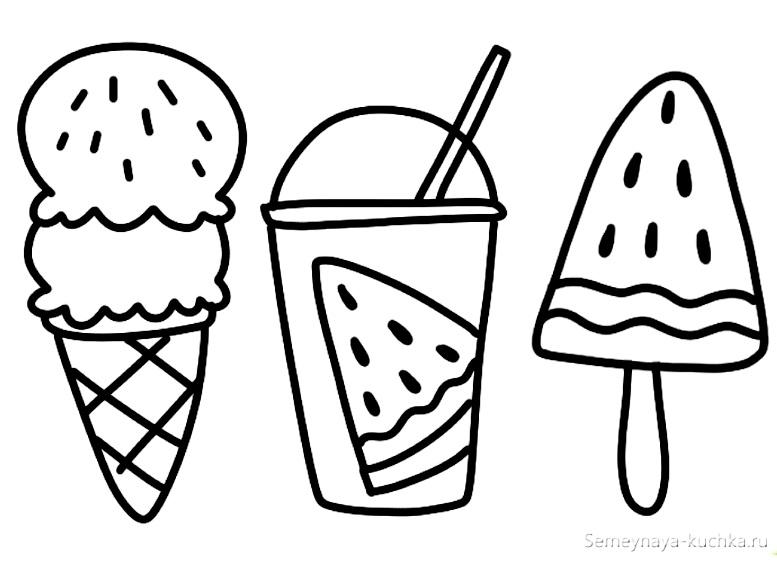 раскраска мороженое для девочки