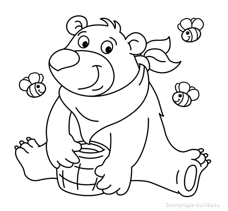 раскраска мишка для девочки