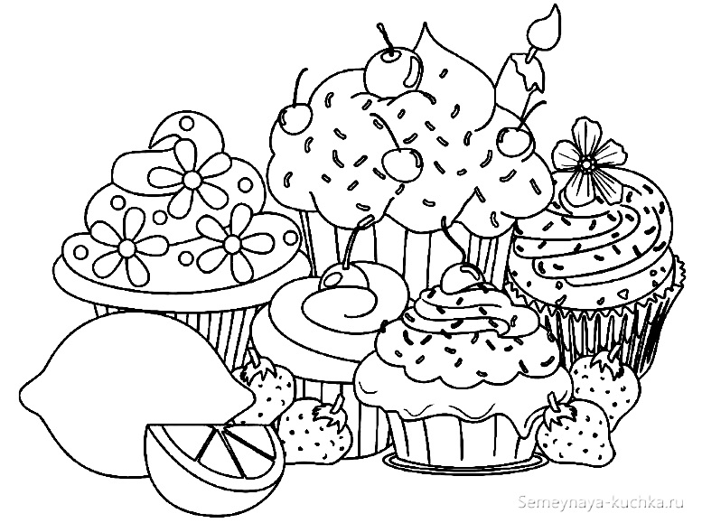 раскраска для девочки картинки сладостей
