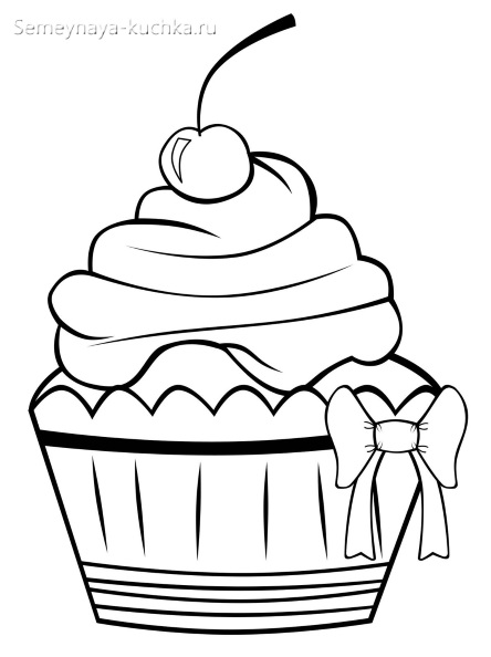 раскраска пирожное кекс для девочки