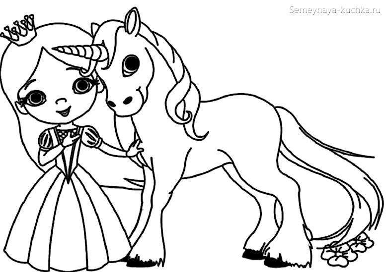 раскраска для девочки принцесса и единорог