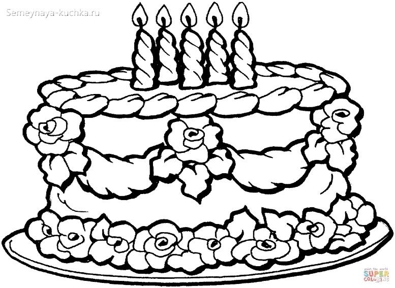 раскраска для девочки торт со свечами