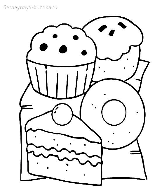 раскраска пирожные для девочки