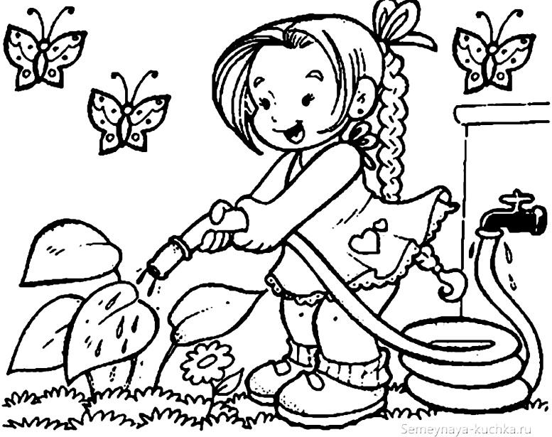 раскраска на даче для девочки