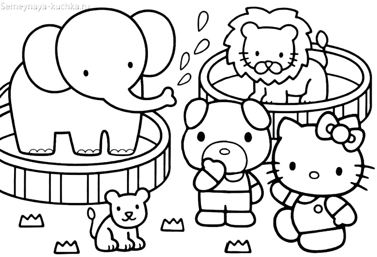 раскраска китти котик для девочки