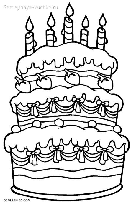 раскраска для девочки торты