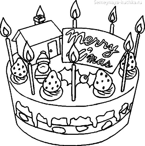 раскраска торт для девочки