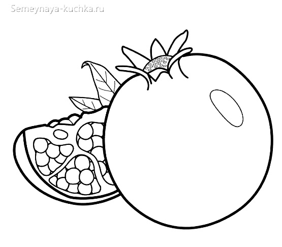 раскраска фрукты гранат
