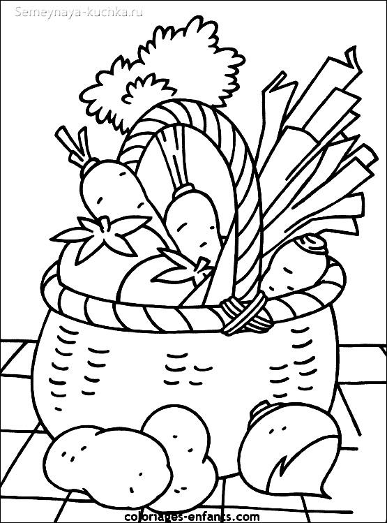 раскраска овощи в корзине