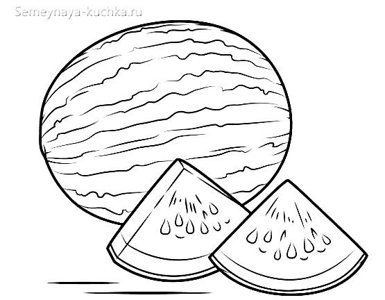 раскраска фрукты арбуз