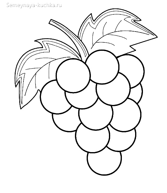 раскраска фрукты виноград