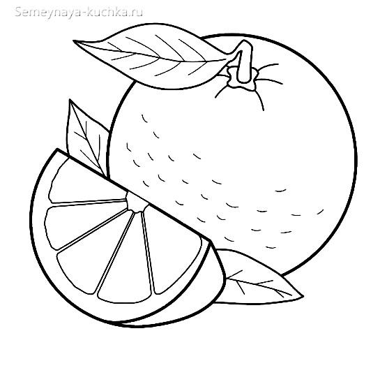раскраска фрукты апельсин