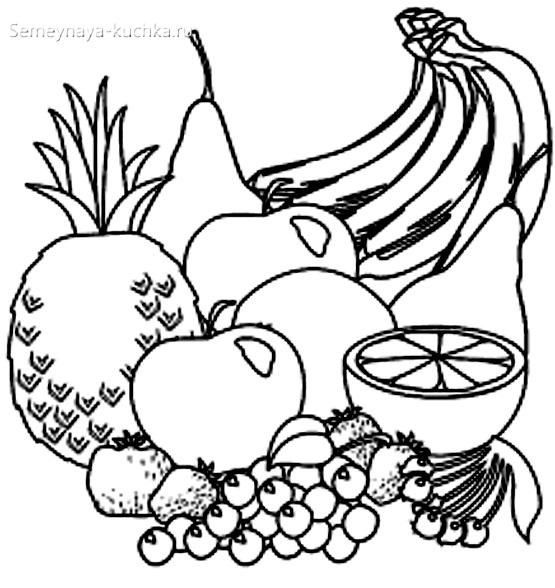 раскраска фрукты
