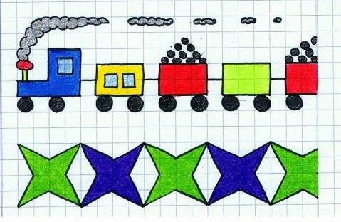 узор по клеточкам простой поезд сложный звезды