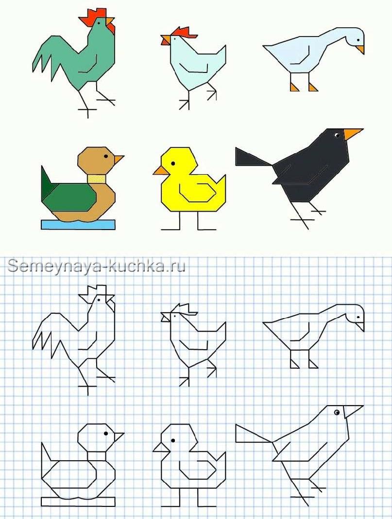 графический диктант по клеточкам петух курица ворона