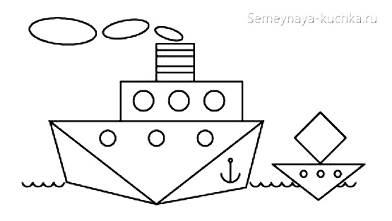 аппликации корабль из геометрических фигур