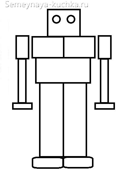 аппликации робот из геометрических фигур