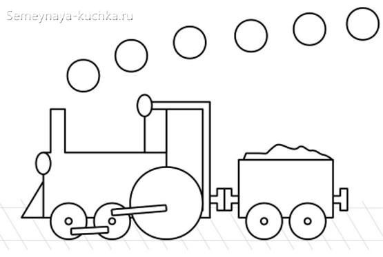 аппликации паровоз из фигур