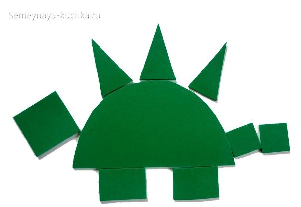 аппликация динозавр из треугольников