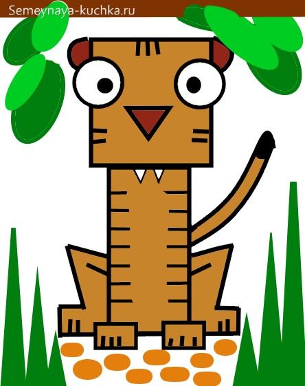 аппликация тигр из прямоугольников