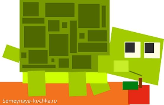 аппликация черепаха из прямоугольников