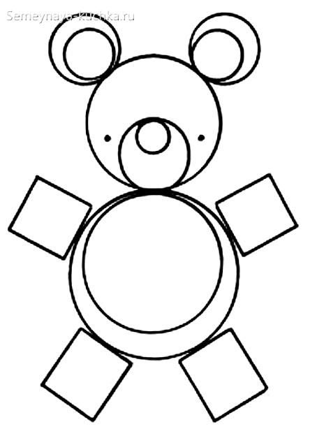 аппликации медведь из геометрических фигур