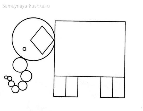 аппликации слон из геометрических фигур
