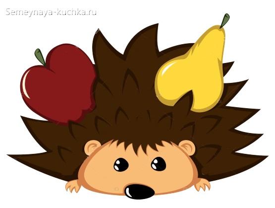 аппликация ежик с фруктами