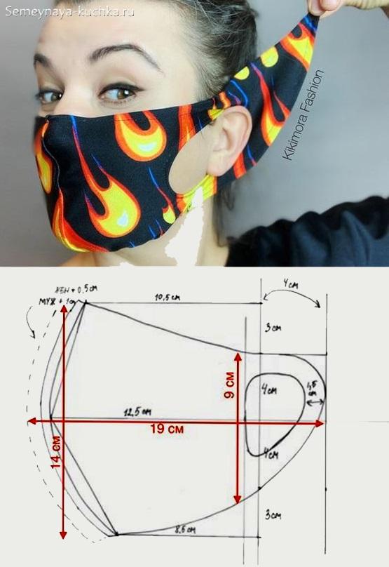 дизайнерская маска на лицо с завязками на затылке