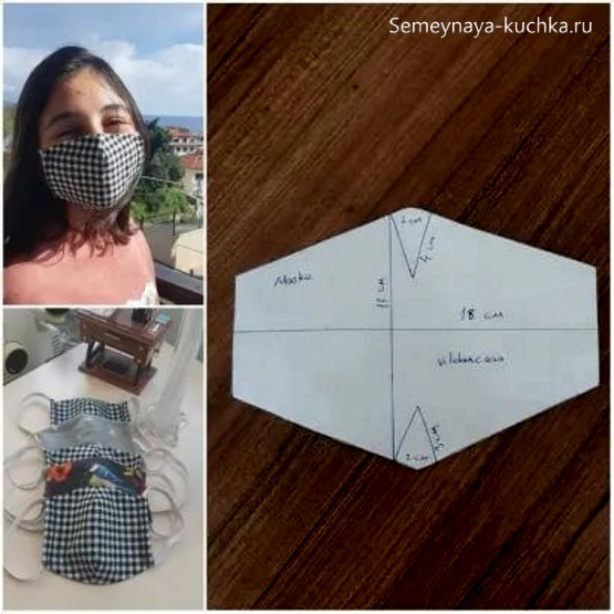 простая выкройка маски