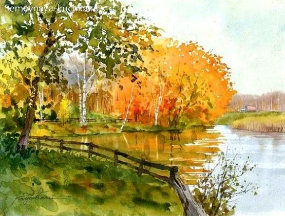 дети рисуют осень пейзаж