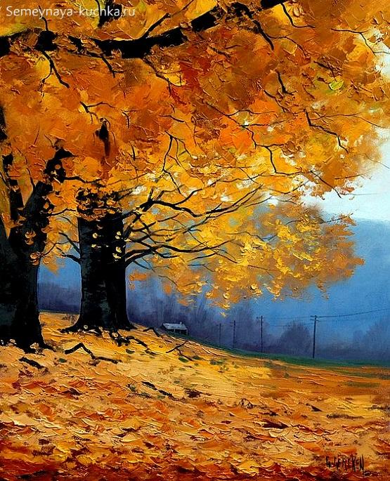 дети рисуют осень